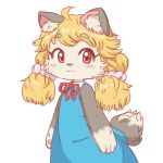 1girl ahoge akuma_gaoru animal_ear_fluff animal_ears animal_nose black_fur blonde_hair blue_dress blush_stickers bow commentary_request cowboy_shot dress eyebrows_visible_through_hair furry futaba_channel hair_ornament hair_scrunchie looking_to_the_side pawpads pink_scrunchie red_bow red_eyes red_ribbon ribbon scrunchie simple_background solo tail twintails two-tone_fur uzumi white_background white_fur
