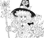 1girl adapted_costume armor bb_(baalbuddy) clenched_hand commentary crossover english_commentary extra_eyes eyeball gauntlets greyscale hat highres kirisame_marisa long_hair magic monochrome solo staff touhou warhammer_40k witch_hat