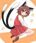 1girl animal_ears brown_eyes brown_footwear brown_hair cat_ears chen chups dress earrings footprints highres jewelry long_sleeves looking_at_viewer multiple_tails red_dress solo tail touhou two_tails white_sleeves yellow_neckwear