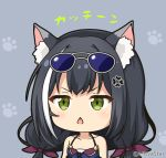 1girl anger_vein animal_ear_fluff animal_ears bangs bikini black_hair blue-tinted_eyewear blue_bikini blush cat_ears chestnut_mouth collarbone commentary_request eyewear_on_head front-tie_bikini front-tie_top green_eyes grey-framed_eyewear grey_background hair_ribbon karyl_(princess_connect!) long_hair low_twintails miicha multicolored_hair parted_lips princess_connect! princess_connect!_re:dive purple_ribbon ribbon solo streaked_hair sunglasses swimsuit translation_request twintails twitter_username upper_body v-shaped_eyebrows white_hair
