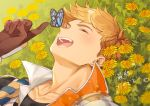 1boy :d bangs black_shirt blonde_hair blush bug butterfly butterfly_on_nose chest close-up closed_eyes collar collarbone flower gloves granblue_fantasy higashigunkan insect lying male_focus marigold on_back on_ground open_mouth plant popped_collar portrait shiny shiny_hair shirt smile solo toned toned_male vambraces vane_(granblue_fantasy) yellow_flower