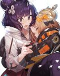 2girls abigail_williams_(fate/grand_order) akieda bag bandaid_on_forehead bangs black_bow black_jacket blonde_hair blush book bow breasts closed_eyes commentary_request crossed_bandaids fate/grand_order fate_(series) flower forehead grin hair_bun hair_flower hair_ornament heroic_spirit_traveling_outfit high_collar highres hug jacket katsushika_hokusai_(fate/grand_order) long_hair long_sleeves multiple_bows multiple_girls open_book open_mouth orange_belt orange_bow parted_bangs pencil purple_hair short_hair shoulder_bag simple_background sketchbook sleeves_past_fingers sleeves_past_wrists smile swept_bangs violet_eyes white_background