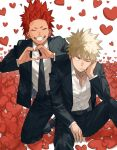 2boys alternate_costume bakugou_katsuki belt black_pants blonde_hair boku_no_hero_academia chest closed_eyes couple formal gradient_hair hand_on_own_face heart heart_background heart_hands highres kirishima_eijirou male_focus multicolored_hair multiple_boys necktie one_eye_closed open_clothes open_shirt oriharaizaya0111 pants redhead sharp_teeth shirt shoes sitting smile spiky_hair squatting suit teeth tuxedo upper_body yaoi