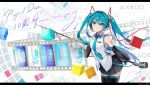 1girl anniversary artist_name black_legwear black_skirt blue_eyes blue_hair blue_nails blue_neckwear breasts closed_mouth collared_shirt commentary_request copyright_name cowboy_shot detached_sleeves eyebrows_visible_through_hair film_strip hair_ornament hatsune_miku hatsune_miku_(vocaloid3) headset index_finger_raised kin_toki letterboxed long_hair looking_at_viewer microphone necktie pleated_skirt project_diva_(series) shirt shoulder_tattoo shure_55sh skirt sleeveless sleeveless_shirt small_breasts smile solo tattoo thigh-highs twintails very_long_hair vintage_microphone vocaloid white_shirt wing_collar zettai_ryouiki