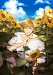 1boy bangs bara blonde_hair blush boots chest clouds cloudy_sky collarbone finger_to_mouth flower granblue_fantasy green_eyes higashigunkan light male_focus muscle one_eye_closed outdoors shiny shiny_hair shirt shushing sky solo sunflower toned toned_male upper_body vane_(granblue_fantasy) white_background