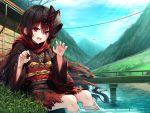1girl :d bandaged_leg bandages bangs black_hair black_kimono blue_sky blush bridge building claw_pose clouds commentary_request copyright_request day eyebrows_visible_through_hair fang fingernails fox_mask hair_between_eyes hasumi_(hasubatake39) highres japanese_clothes kimono leaves_in_wind long_sleeves mask mask_on_head multicolored_hair obi open_mouth outdoors railing redhead sash sitting sky smile solo streaked_hair torn_clothes torn_kimono violet_eyes water wide_sleeves