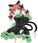 1girl animal_ears bare_legs black_bow black_dress bow braid cat_ears cat_tail chups cowboy_shot dress eyebrows_visible_through_hair fang frilled_dress frilled_sleeves frills green_frills long_sleeves looking_at_viewer multiple_tails red_eyes red_nails red_neckwear redhead ribbon solo sweat tail touhou twin_braids two_tails white_background