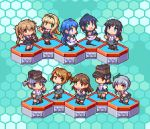6+girls arare_(kantai_collection) arashio_(kantai_collection) asashio_(kantai_collection) bangs black_hair blonde_hair blue_background blue_hair brown_hair chibi double_bun green_hair hair_ribbon hat hexagon kantai_collection kasumi_(kantai_collection) light_brown_hair long_hair lowres michishio_(kantai_collection) multiple_girls murasame_(kantai_collection) oobako ooshio_(kantai_collection) open_mouth pixel_art ponytail ribbon sailor_collar samidare_(kantai_collection) school_uniform serafuku short_hair short_twintails side_ponytail silver_hair simple_background skirt smile suspender_skirt suspenders suzukaze_(kantai_collection) twintails yuudachi_(kantai_collection)