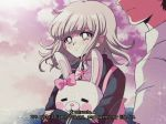 1990s_(style) criis-chan danganronpa flipped_hair hinata_hajime jacket monomi_(danganronpa) nanami_chiaki object_hug pink_hair striped_sleeves super_danganronpa_2 twitter_username