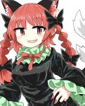 1girl :3 animal_ears black_bow black_dress black_ribbon bow braid cat_ears chups cowboy_shot dress extra_ears fang frilled_dress frilled_sleeves frills green_frills highres kaenbyou_rin looking_at_viewer multiple_tails neckwear red_eyes red_nails red_neckwear redhead ribbon tail touhou two_tails white_background