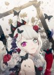 1girl absurdres bug butterfly flower frame gloves grey_eyes hair_flower hair_ornament highres insect long_hair looking_at_viewer original partially_submerged red_flower red_gloves red_rose rose silver_hair solo spinel_cranweiss spinel_cranweiss_(artist) symbol-shaped_pupils upper_body violet_eyes virtual_youtuber