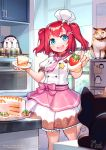 1girl animal apron artist_name bangs blue_eyes blush bow breasts brown_skirt cake cat commentary_request food frills fruit hair_bow hair_ornament highres holding holding_food holding_plate indoors kurosawa_ruby long_hair looking_at_viewer love_live! love_live!_school_idol_project love_live!_sunshine!! open_mouth pink_apron pink_neckwear plate redhead shirt short_sleeves siriuflong skirt small_breasts smile star_(symbol) strawberry tongue tongue_out two-tone_skirt two_side_up upper_teeth watermark web_address white_bow white_headwear white_shirt white_skirt x_hair_ornament