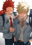 2boys backpack bag bakugou_katsuki belt black_hair blonde_hair boku_no_hero_academia breath closed_eyes couple hand_in_pocket hand_on_another's_shoulder highres kirishima_eijirou light lying male_focus multiple_boys on_back open_mouth oriharaizaya0111 pants red_eyes red_neckwear scarf school_bag school_uniform sharp_teeth shoulder_bag smile spiky_hair teeth u.a._school_uniform white_background yaoi