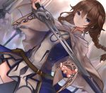 1girl absurdres blue_dress blue_eyes braid brown_hair cape closed_mouth commentary commission dress dutch_angle english_commentary eyebrows_visible_through_hair highres holding holding_sword holding_weapon long_hair looking_at_viewer neonbeat original solo sword thigh-highs twin_braids weapon white_cape white_legwear