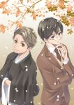 2boys black_eyes black_hair black_kimono brown_eyes brown_neckwear brown_pants brown_suit crossed_arms glasses hand_up ippaisakura ishikawa_takuboku japanese_clothes kimono kindaichi_kyousuke kitsutsuki_tanteidokoro long_sleeves male_focus multiple_boys outdoors pants petals simple_background vest wide_sleeves