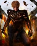 1boy absurdres blonde_hair boots closed_mouth clothing_request destruction facepaint fire genos gloves glowing glowing_eyes highres kneeling looking_at_viewer marthhh one-punch_man one_knee open_hand orange_eyes power_armor power_suit rock shoes short_hair signature solo
