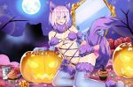 animal_ears bat candy claws dangerous_beast elbow_gloves eyes_visible_through_hair fate/grand_order fate_(series) food fur-trimmed_gloves fur-trimmed_legwear fur_collar fur_trim gloves hair_over_one_eye halloween halloween_costume highres jack-o'-lantern lace lace-trimmed_legwear lavender_hair maroonabyss mash_kyrielight moon o-ring o-ring_top pumpkin purple_gloves purple_hair purple_legwear revealing_clothes short_hair tail violet_eyes wolf_ears wolf_girl wolf_tail
