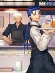 2boys :d apron archer black_apron black_shirt blue_hair cake closed_mouth collared_shirt cu_chulainn_(fate)_(all) drinking_straw emiya-san_chi_no_kyou_no_gohan fate_(series) food frown glass hair_tubes hand_on_hip highres holding holding_plate indoors lancer long_hair long_sleeves low_ponytail male_focus migiha multiple_boys one_eye_closed open_mouth plate red_eyes shiny shiny_hair shirt silver_hair sleeves_rolled_up smile spiky_hair white_shirt wing_collar