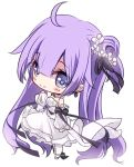 1girl ahoge azur_lane bangs bare_shoulders black_bow black_ribbon blue_eyes blush bow chibi closed_mouth detached_sleeves dress eyebrows_visible_through_hair flower full_body hair_between_eyes hair_bun hair_flower hair_ornament hair_ribbon long_hair long_sleeves looking_at_viewer pantyhose puffy_long_sleeves puffy_sleeves purple_hair ribbon side_bun simple_background sleeves_past_wrists smile solo standing strapless strapless_dress sukireto twintails unicorn_(azur_lane) very_long_hair white_background white_dress white_flower white_legwear white_sleeves