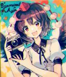 1girl :d black_hair black_ribbon black_wings camera character_name collared_shirt commentary day hat holding holding_camera kirero leaf looking_at_viewer open_mouth outdoors pom_pom_(clothes) red_eyes ribbon shameimaru_aya shirt short_hair short_sleeves smile solo tokin_hat touhou traditional_media upper_body white_shirt wings