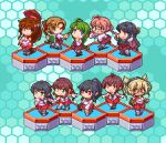 6+girls agano_(kantai_collection) ahoge akigumo_(kantai_collection) bangs black_hair blonde_hair blue_background braid brown_hair chibi dark_skin detached_sleeves double_bun dress gloves green_hair headgear hexagon holding kantai_collection long_hair lowres makigumo_(kantai_collection) multicolored_hair multiple_girls musashi_(kantai_collection) naganami_(kantai_collection) noshiro_(kantai_collection) one_eye_closed oobako open_mouth oriental_umbrella pink_hair pixel_art ponytail purple_dress purple_hair sailor_collar sakawa_(kantai_collection) school_uniform serafuku short_hair simple_background single_braid sleeveless two-tone_hair umbrella yahagi_(kantai_collection) yamato_(kantai_collection) yuugumo_(kantai_collection)