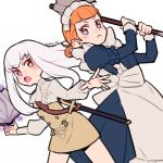 2girls annette_fantine_dominic artist_name axe blue_eyes book closed_mouth do_m_kaeru fire_emblem fire_emblem:_three_houses garreg_mach_monastery_uniform holding holding_axe long_hair long_sleeves lysithea_von_ordelia maid maid_headdress multiple_girls open_book open_mouth orange_hair pink_eyes scabbard sheath sheathed simple_background sword twintails uniform weapon white_background white_hair