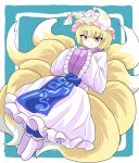 1girl :3 animal_ears blonde_hair blue_background blue_pants chups dress fox_ears fox_tail hat highres long_sleeves looking_at_viewer multiple_tails pants short_hair sleeves_past_wrists smile solo tabard tail touhou white_dress white_footwear white_headwear white_sleeves wide_sleeves yakumo_ran yellow_eyes