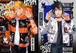 2boys alternate_costume black_collar black_hair blonde_hair blue_eyes candy cheek_pull collar cover cover_page denim english_text facial_mark food gradient_hair hood hood_down hood_pull hoodie jeans jewelry lollipop long_sleeves male_focus multicolored_hair multiple_boys multiple_rings naruto naruto_(series) number open_clothes open_hoodie open_mouth oriharaizaya0111 pants ring sidelocks smile spiky_hair teeth uchiha_sasuke uchiha_symbol uzumaki_naruto watch whisker_markings yin_yang