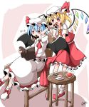 2girls ankle_boots arm_above_head bat_wings behind_another blonde_hair blue_hair book boots bright_pupils chair checkerboard_cookie commentary_request cookie cravat cup feeding flandre_scarlet food food_in_mouth generalcanon hat hat_ribbon highres mob_cap multiple_girls one_side_up open_book partial_commentary pink_background plate puffy_short_sleeves puffy_sleeves reading red_eyes red_neckwear red_skirt red_vest remilia_scarlet ribbon saucer shirt short_hair short_sleeves siblings sisters sitting skirt skirt_set standing table teacup teapot touhou two-tone_background vest white_background white_footwear white_headwear white_pupils white_shirt white_skirt wings wrist_cuffs yellow_neckwear