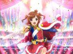 aijou_karen brown_hair cape dress red_eyes short_hair shoujo_kageki_revue_starlight sword