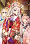 astolfo_(fate) black_bow blonde_hair blue_eyes blue_kimono bow character_request chevalier_d'eon_(fate/grand_order) comb commentary_request fan fang fate/grand_order fate_(series) floral_print folding_fan furisode grey_hair hair_intakes hair_ornament highres indoors itou_noiji japanese_clothes kanzashi kimono looking_at_viewer marie_antoinette_(fate/grand_order) nihongami obi one_eye_closed otoko_no_ko pink_hair pink_kimono print_kimono red_kimono sash skin_fang violet_eyes wide_sleeves