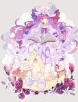 1girl ankle_cuffs bangs blue_bow blueberry blunt_bangs blush bow cake commentary crescent crescent_moon_pin dress flower food frills fruit full_body grey_background hair_bow hand_up hat hat_bow highres holding long_hair long_sleeves looking_at_viewer mob_cap neck_ribbon nikorashi-ka patchouli_knowledge pink_dress pink_footwear pink_headwear purple_hair red_bow red_neckwear ribbon sitting sitting_on_food slippers solo strawberry striped striped_dress touhou violet_eyes wide_sleeves