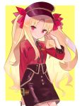 1girl bangs black_headwear black_skirt blonde_hair border bow breasts closed_mouth contemporary ereshkigal_(fate/grand_order) fate/grand_order fate_(series) hair_bow hand_in_hair hat highres long_hair long_sleeves looking_at_viewer parted_bangs peaked_cap red_bow red_eyes red_shirt revision shirt skirt small_breasts smile solo two_side_up white_border yellow_background zenshin