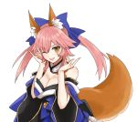 1girl animal_ear_fluff animal_ears blue_bow blue_kimono bow detached_sleeves fate/extra fate/extra_ccc fate_(series) fox_ears fox_girl fox_shadow_puppet fox_tail hair_bow japanese_clothes kimono merokonbu0 obi one_eye_closed pink_hair sash simple_background solo tail tamamo_(fate)_(all) tamamo_no_mae_(fate) upper_body white_background wide_sleeves yellow_eyes