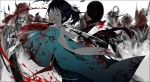 2boys attack battle black_hair blood blood_on_face blood_splatter bloody_clothes bloody_weapon blue_eyes crazy_eyes group_battle haori hidden_face holding holding_sword holding_weapon japanese_clothes kashuu_kiyomitsu katana long_hair male_focus mole mole_under_eye multiple_boys mzet pale_skin ponytail scarf sheath slashing sword torn_clothes torn_scarf touken_ranbu uchigatana weapon white_scarf wide-eyed yamato-no-kami_yasusada