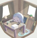 1girl bangs blue_hair blush chair chibi closed_eyes commentary_request desk elbow_gloves gloves holding holding_pen indoors kantai_collection lamp long_hair ofly_(ofly252) open_mouth outstretched_arms paper_stack pen samidare_(kantai_collection) simple_background sitting solo swept_bangs very_long_hair white_background window