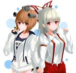 2girls absurdres anchor_symbol arm_at_side arm_belt arm_up blush breasts brown_eyes brown_hair commentary crossover drawstring expressionless eyebrows_visible_through_hair finger_to_mouth fujiwara_no_mokou hair_between_eyes hair_ribbon headgear highres holding_hands kantai_collection kure:kuroha lifebuoy long_hair looking_at_viewer medium_breasts multiple_girls one-piece_swimsuit pants polka_dot polka_dot_background red_eyes red_nails red_pants ribbon school_swimsuit shirt short_hair silver_hair sleeves_past_wrists small_breasts smile standing suspenders swimsuit touhou upper_body very_long_hair white_background white_hoodie white_shirt yukikaze_(kantai_collection)