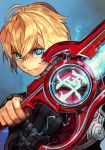 1boy ahoge blonde_hair blue_eyes energy_sword glowing glowing_eyes hankuri holding holding_sword holding_weapon male_focus monado ribbed_sweater shulk sweater sword weapon xenoblade_(series) xenoblade_1