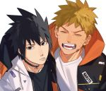 2boys arm_over_shoulder bangs black_collar black_hair blonde_hair close-up closed_eyes collar face facial_mark fang gradient_hair highres hood hood_down hoodie long_sleeves looking_at_viewer male_focus multicolored_hair multiple_boys naruto naruto_(series) open_mouth oriharaizaya0111 shirt smile spiky_hair sweatshirt toothpick uchiha_sasuke upper_body uzumaki_naruto whisker_markings white_shirt