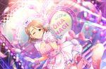 blush brown_hair dress green_eyes idolmaster_cinderella_girls_starlight_stage nurse short_hair smile wink yanagi_kiyora