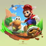 1boy blue_eyes blue_overalls blue_sky brown_hair camera cassio_yoshiyaki clouds commentary day english_commentary facial_hair fishing_rod floating_island gloves green_shell hat holding holding_fishing_rod koopa_troopa lakitu mario mario_(series) mountainous_horizon mustache open_mouth outdoors overalls polygonal racing red_headwear red_shirt road running shirt sign signature sky smile super_mario_64 tree turtle_shell white_gloves winged_hat