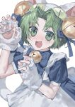 1girl animal_hat apron artist_request bell blue_ribbon blush bow cat_hat cat_tail dejiko di_gi_charat eyebrows_visible_through_hair fingerless_gloves gloves green_eyes green_hair hair_ribbon hat highres jingle_bell looking_at_viewer maid_apron open_mouth paw_gloves paws puffy_short_sleeves puffy_sleeves ribbon short_hair short_sleeves sleeve_cuffs solo tail tail_ribbon white_background