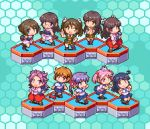 6+girls ahoge akebono_(kantai_collection) bangs black_hair blue_background blue_hair brown_hair chibi chikuma_(kantai_collection) choukai_(kantai_collection) crab flower flying_sweatdrops glasses hair_bobbles hair_flower hair_ornament hair_ribbon hexagon hiyou_(kantai_collection) japanese_clothes jun'you_(kantai_collection) kantai_collection long_hair lowres maya_(kantai_collection) multiple_girls oboro_(kantai_collection) oobako open_mouth orange_hair pink_hair pixel_art purple_hair rabbit ribbon sailor_collar sazanami_(kantai_collection) school_uniform serafuku short_hair short_twintails simple_background skirt tone_(kantai_collection) twintails ushio_(kantai_collection) x_hair_ornament