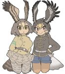 2girls absurdres belt blush gloves golden_eagle_(kemono_friends) head_wings highres igarashi_(nogiheta) kemono_friends multiple_girls peregrine_falcon_(kemono_friends) shorts skirt tail tail_feathers thigh-highs uniform wings yellow_eyes
