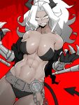 1girl abs absurdres armband asha bare_shoulders belt black_horns black_jacket black_panties breasts chain commentary_request dark_skin demon_girl demon_horns demon_tail gauntlets helltaker highres horns jacket judgement_(helltaker) large_breasts long_hair muscle muscular_female navel panties pentagram ponytail red_background sharp_teeth simple_background solo tail teeth underwear white_eyes white_hair