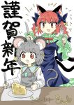 animal_ears black_bow black_dress bow cat_ears cat_girl cat_tail cheese chups dress extra_ears fang food fork frilled_dress frilled_sleeves frills green_frills grey_background grey_dress grey_hair highres jewelry kaenbyou_rin knife mouse_ears mouse_tail multiple_tails nazrin red_eyes red_nails red_neckwear redhead signature star_(symbol) tail touhou two_tails white_sleeves