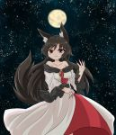 1girl :3 animal_ears black_frills black_hair brooch brown_eyes chups closed_mouth dress eyebrows_visible_through_hair fingernails frilled_dress frilled_sleeves frills highres imaizumi_kagerou jewelry long_fingernails long_hair long_sleeves looking_at_viewer moon night off-shoulder_dress off_shoulder outdoors red_nails solo tail touhou white_dress wide_sleeves wolf_ears wolf_tail