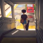 1girl artist_logo black_shirt blue_shorts brown_hair bysau day dispenser from_above highres holding instrument_case medium_hair original outdoors ponytail shirt shoes short_sleeves shorts sneakers solo stairs standing t-shirt train_station walking