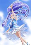 1girl arm_up armpits bangs blue_bow blue_eyes bow bracelet choker closed_mouth cure_diamond dokidoki!_precure floating_hair fresh_precure! highres jewelry layered_skirt long_hair miniskirt parted_bangs peke_(nariyuki_koubou) ponytail precure purple_hair shiny shiny_hair skirt smile solo very_long_hair white_skirt