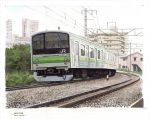 border bush dated grass ground_vehicle highres horikou no_humans original outdoors power_lines railroad_tracks scan scenery signature traditional_media train white_border